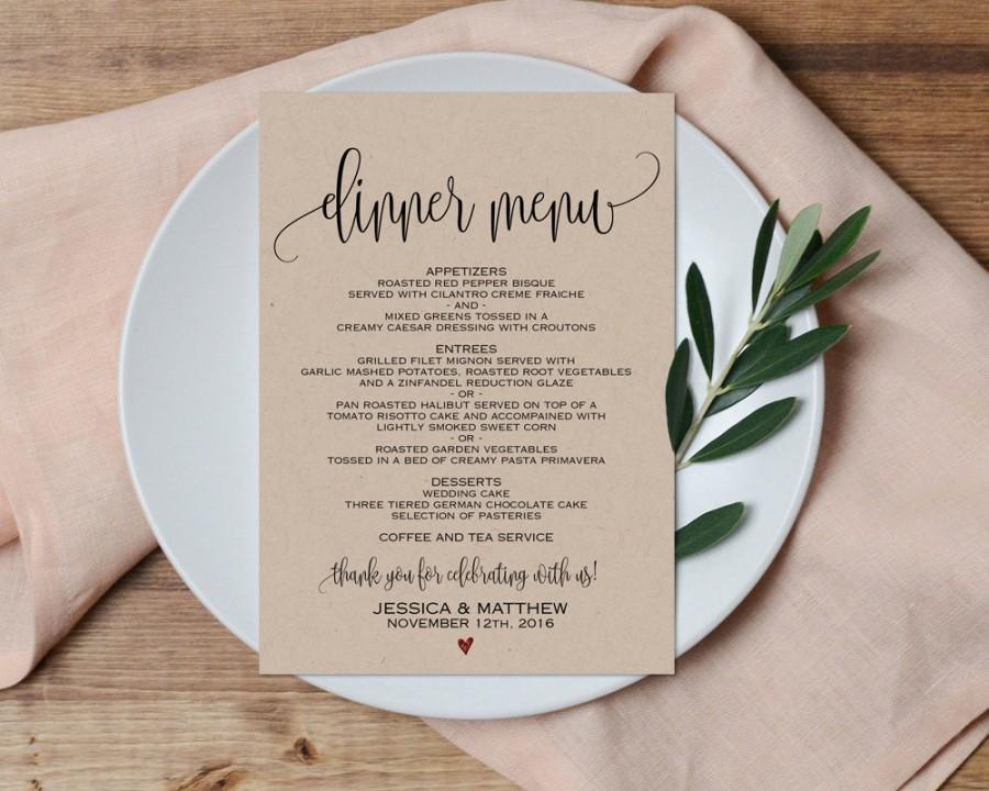 photograph regarding Printable Wedding Menus identified as Evening meal Menu, Wedding day Menu, Printable Marriage ceremony Menu, Marriage