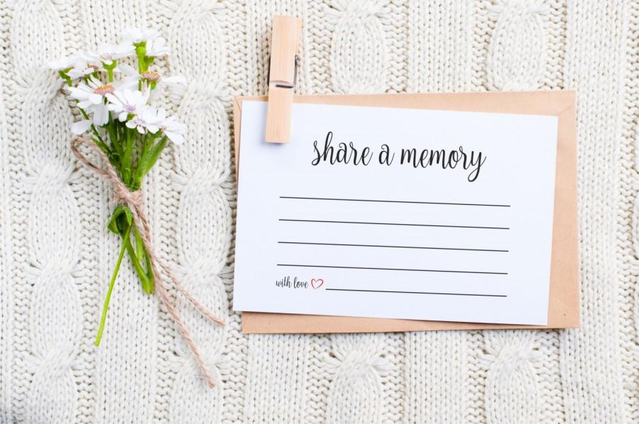 Mariage - Share a Memory Card, Memory Cards, Share a memory printable, memorial card, Keepsake, Funeral memory card, PDF, Instant Download