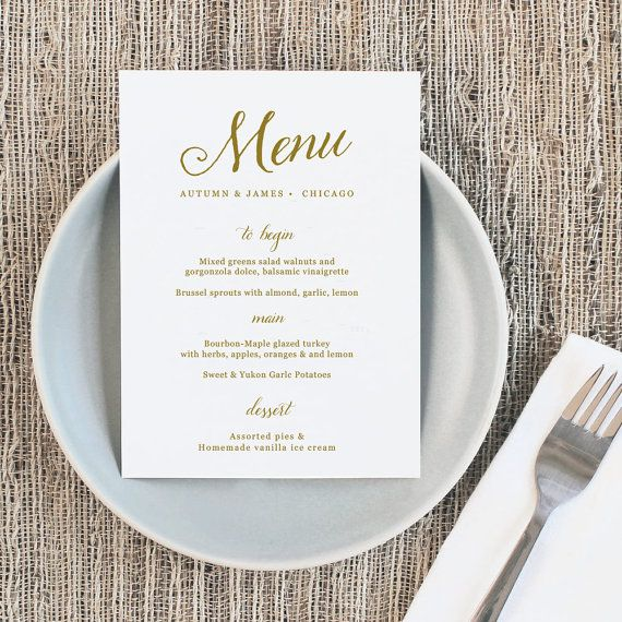 Mariage - Printable Wedding Menu, Wedding Menu Template, Romantic Script, Mac Or PC, 100% Editable, Cheap Wedding Menu, INSTANT DOWNLOAD