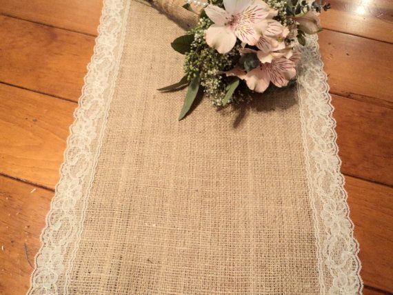 """زفاف - Burlap And Lace Table Runner 12"""" Wide Choose Your Length Rustic And Elegant Burlap Wedding Decorations Burlap Home Decor White Or Ivory Lace"""