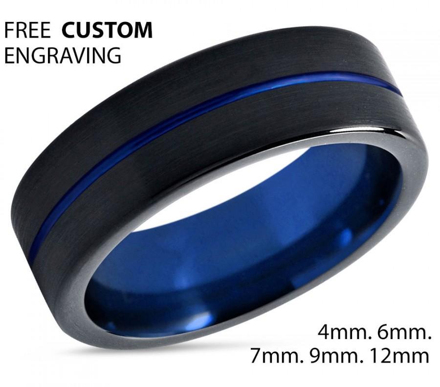 زفاف - Tungsten Ring Mens Black Blue Wedding Band  Ring Tungsten Carbide 7mm Tungsten Man Wedding Male Women Anniversary Matching Size