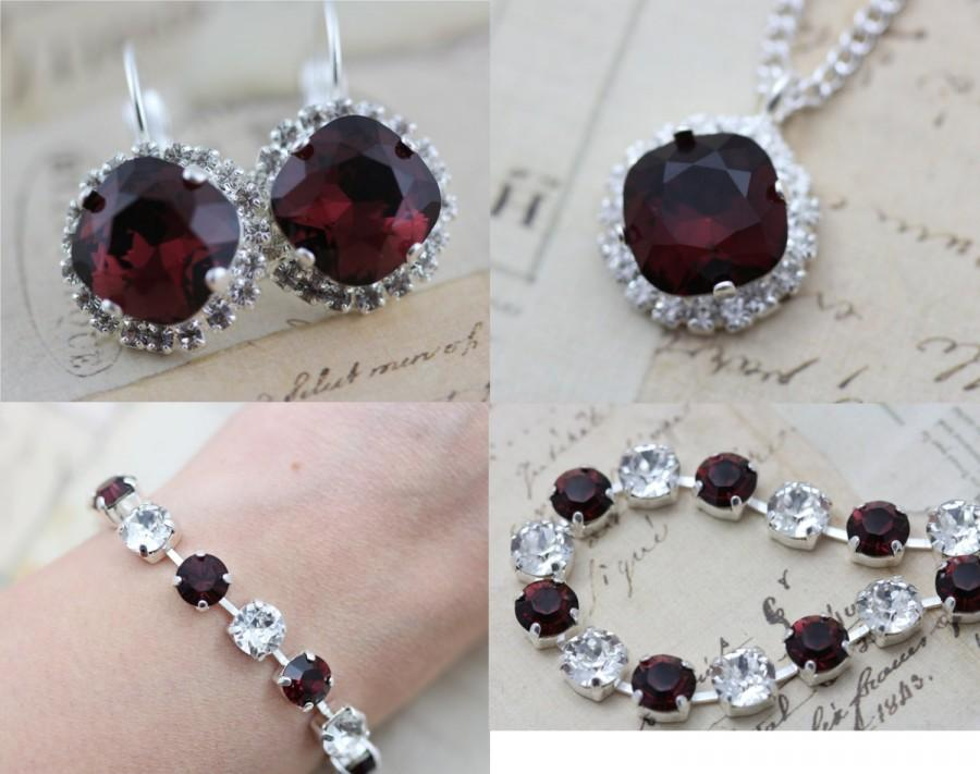 Mariage - Burgundy Necklace Earrings Bracelet  Jewelry Set Silver Crystal Maid of Honor Gift Maroon Crystal Bridesmaid Gift Mother of Bride