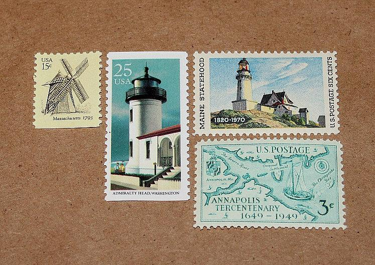 Lighthouses And Windmills Unused Vintage Postage Stamps Enough