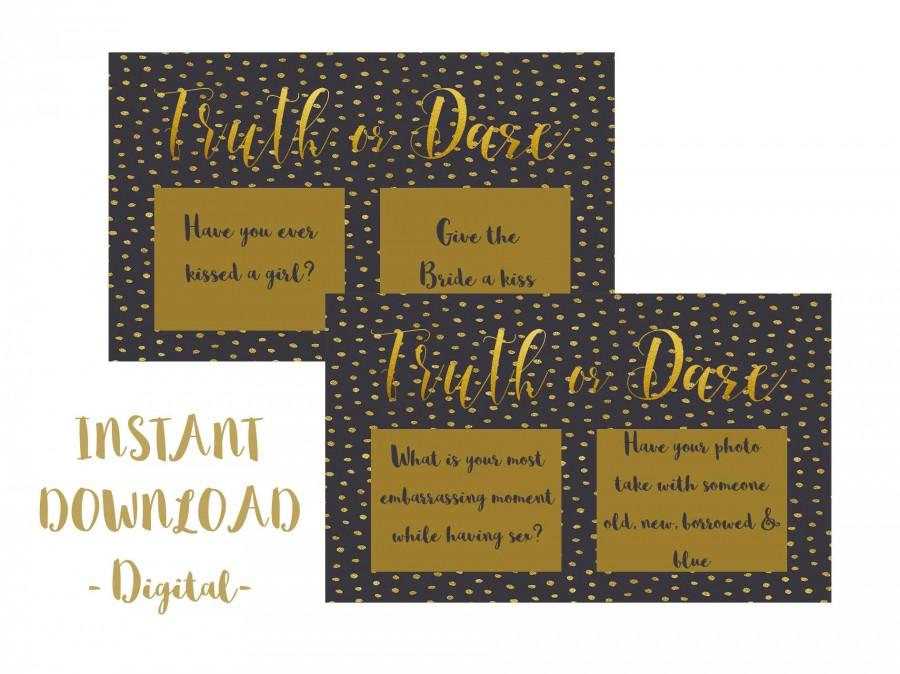Mariage - Truth or Dare, Bachelorette, Hens, Party Game, Girls Night PRINTABLE INSTANT DOWNLOAD - Black & Gold