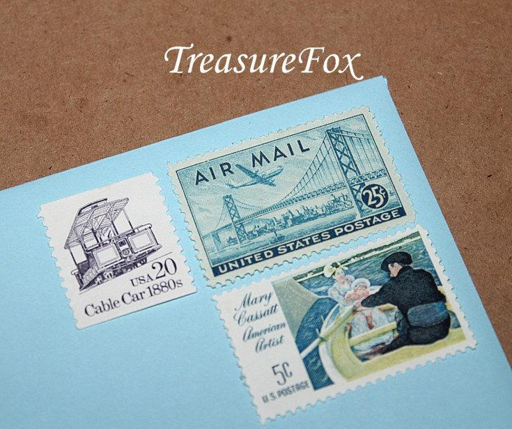 Mariage - San Francisco .. Unused Vintage Postage Stamps by TreasureFox .. mail 5 letters
