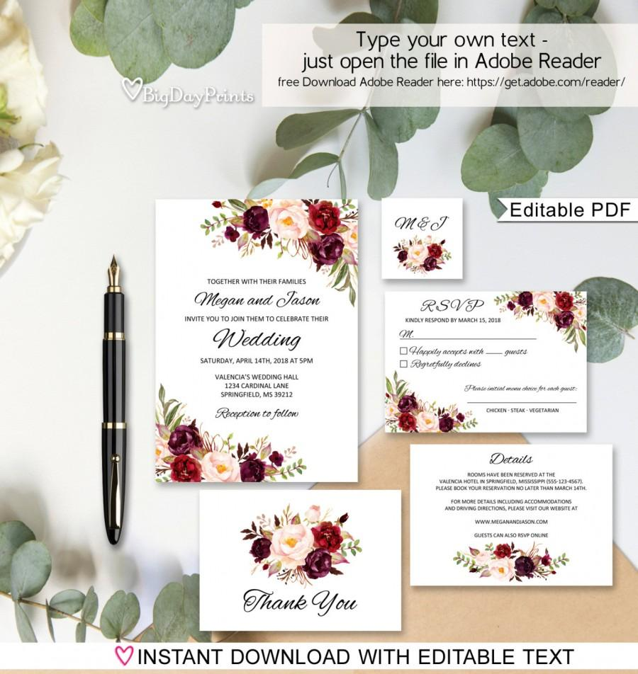 Mariage - Floral Wedding Invitation Template, Boho Chic Wedding Invitation Suite, Wedding Set, #A023A, Editable PDF - you personalize at home.