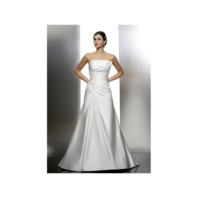 Hochzeit - Elegant Floor Length Fit N Flare Strapless Satin Bridal Gowns With Pleats - Compelling Wedding Dresses