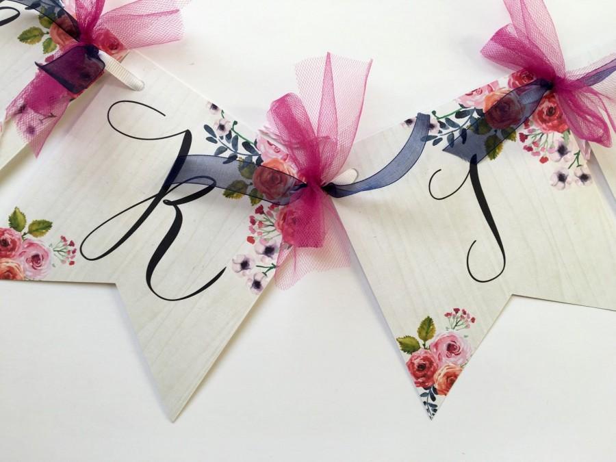 Wedding - Bridal Shower Banner, Floral Banner, Flower Banner, Bridal Shower Flower Banner, Bride to Be Banner, Boho Chic Banner, Bridal Shower Bunting