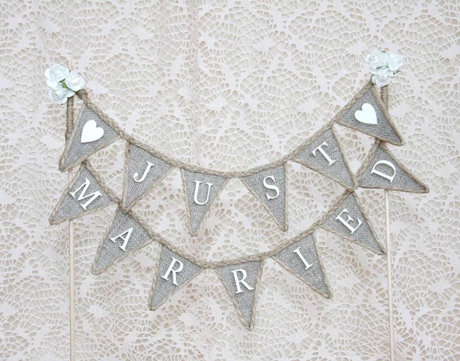 Wedding - Just Married Wedding Cake Topper Banner, Rustic Cake Banner, Rustic Cake Toppers, Wedding Cake, Wedding Cake Topper, Wedding Cake Banner