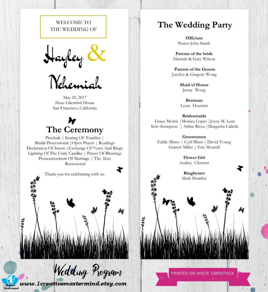 زفاف - Wedding Program Template DIY Rustic Instant Download, Ceremony Program, Program Printable, garden wedding, White Kraft Wedding #1CM84-1