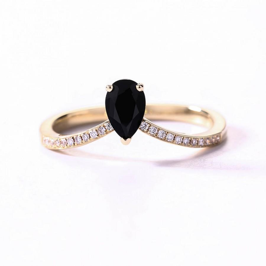 Black Onyx Ring, Unique Pear Engagement Ring Rose Gold Pear Cut Half  Eternity Band Anniversary Stackable Rings Promise Ring Mother Day Gift