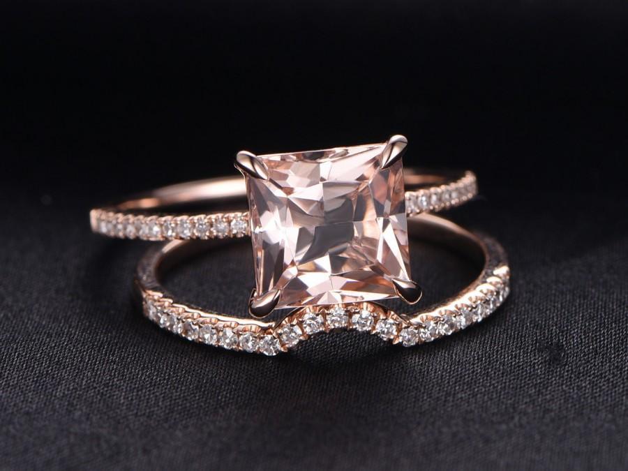 Wedding - 8mm Princess Cut 2.5ct VS Pink Morganite engagement ring set,Curved U diamond wedding band,half eternity,2pcs bridal ring,14k rose gold
