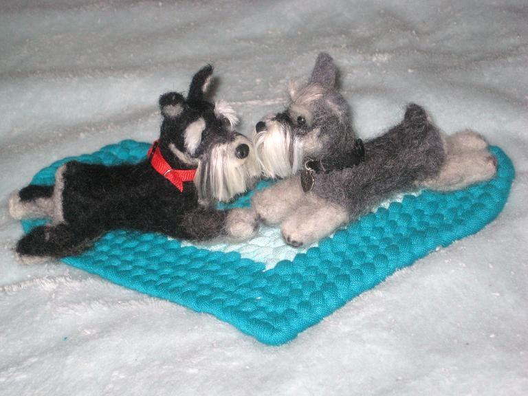 Wedding - Wedding Cake Topper / Needle Felted Dogs / Your pets on Your Wedding Cake / Anniversary Gift / example Miniature Schnauzer