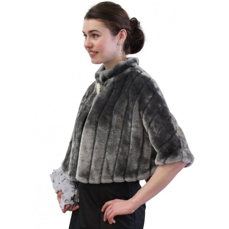 Bridal Wrap Bridal Fur Capelet Gray Faux Fur Mink Cape
