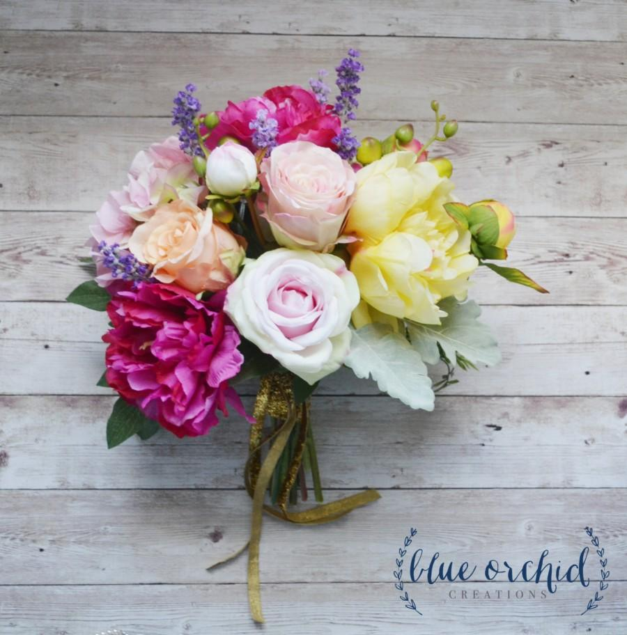 Mariage - Wedding Bouquet, Silk Bouquet, Colorful Wedding Bouquet, Asymmetrical, Hand-Tied Bouquet