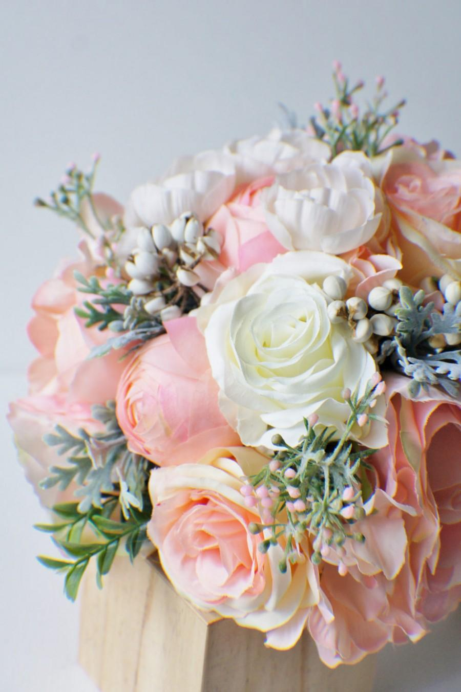 Silk Wedding Bouquet Ready To Ship Silk Bride Bouquet Peach Pink