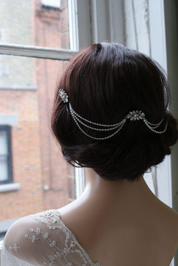 Wedding - Hair Chain Headpiece - Art Deco Headpiece -Bridal Hair Jewellery - 1920s Bridal Headpiece - Downton Abbey Headpiece -1920s Wedding Dress