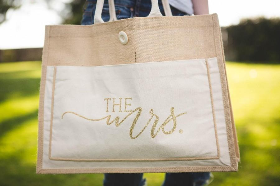 The Mrs Tote Bag Bride Gift Beach Honeymoon Bridal Shower Bachelorette Party Bags