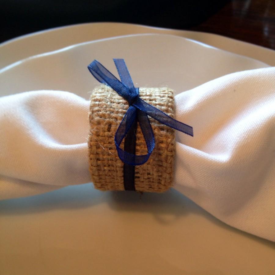 زفاف - Shabby Chic Burlap and Navy Wedding Napkin Rings, Burlap and Midnight Blue Napkin Ring Holders, Rustic Wedding, Country Wedding