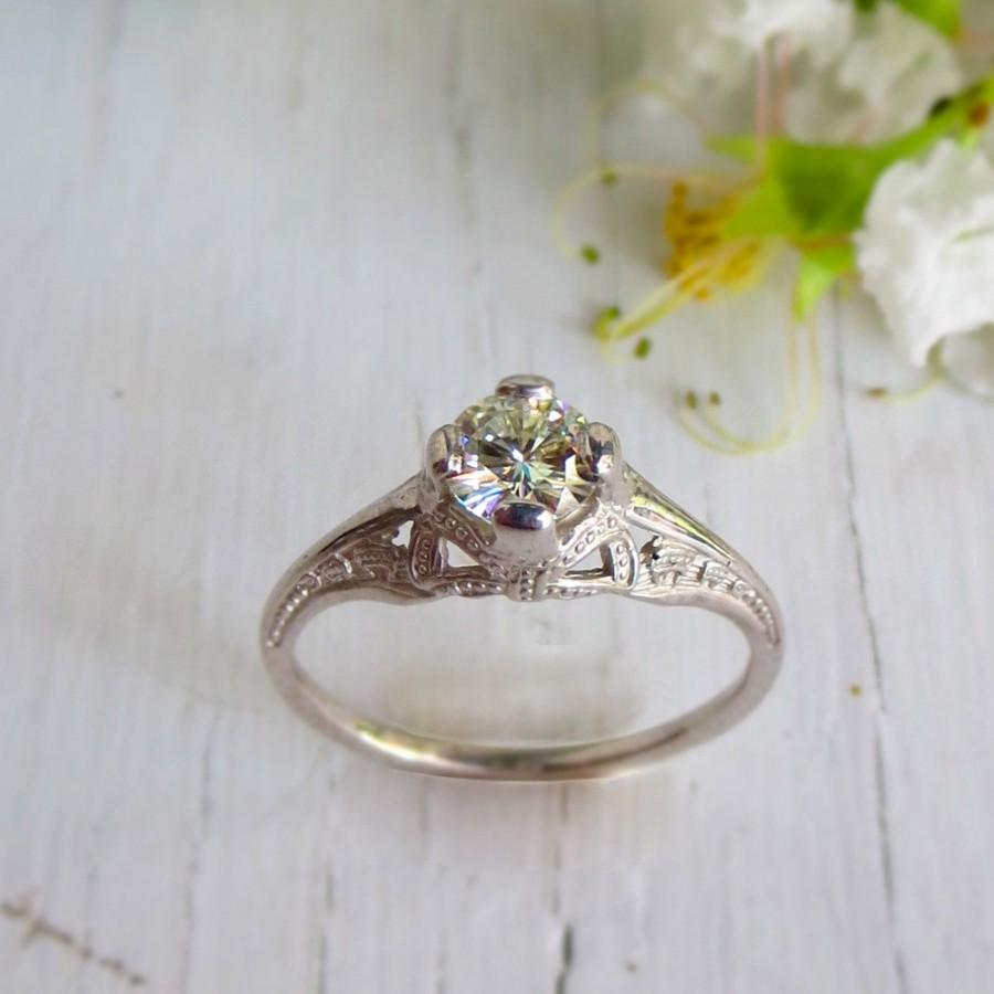 زفاف - White Gold Engagement Ring Custom, Art Deco Ribbon and Bow C&S