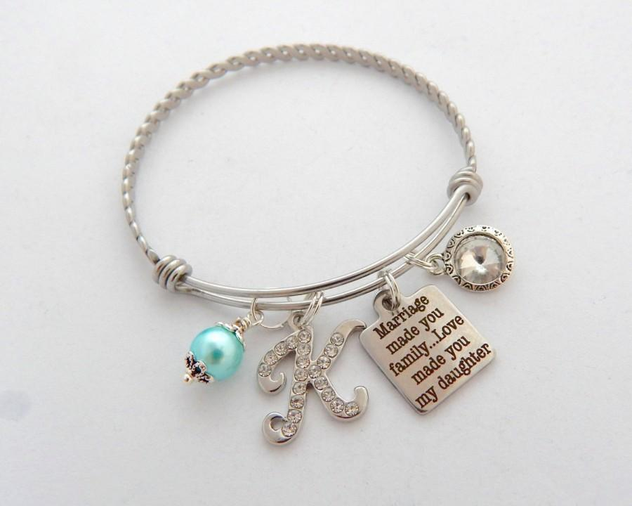 Mariage - STEP DAUGHTER Gift, Step Daughter Bracelet, Blended Family Wedding, Daughter of the groom gift, Marriage made you family, Daughter of Bride