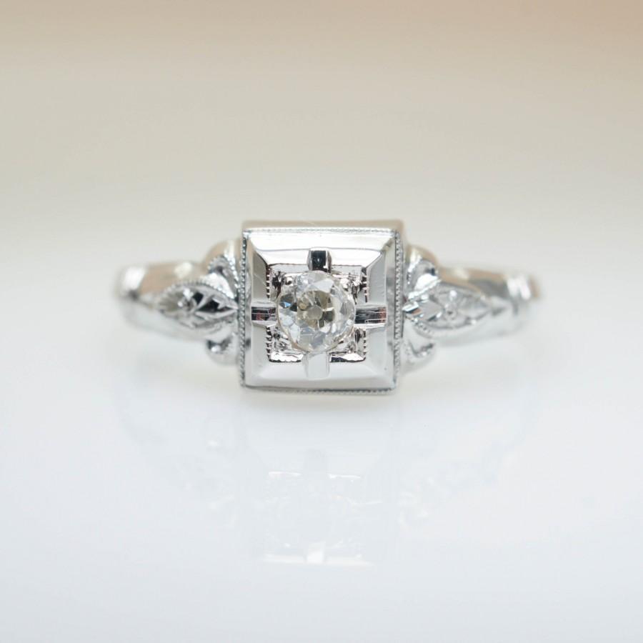 Wedding - SALE - Vintage Late Edwardian Style Diamond Engagement Ring 18k White Gold