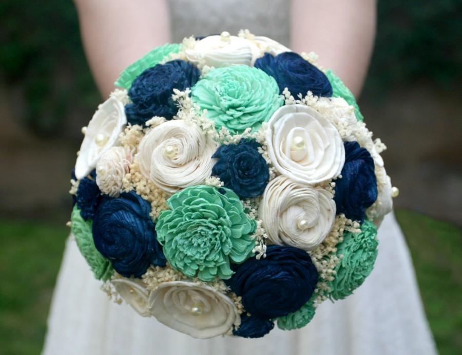 Jade Green Navy Wedding Bouquet Bridal Mint Blue Sola Wood Flowers Baby S Breath Alternative Bride