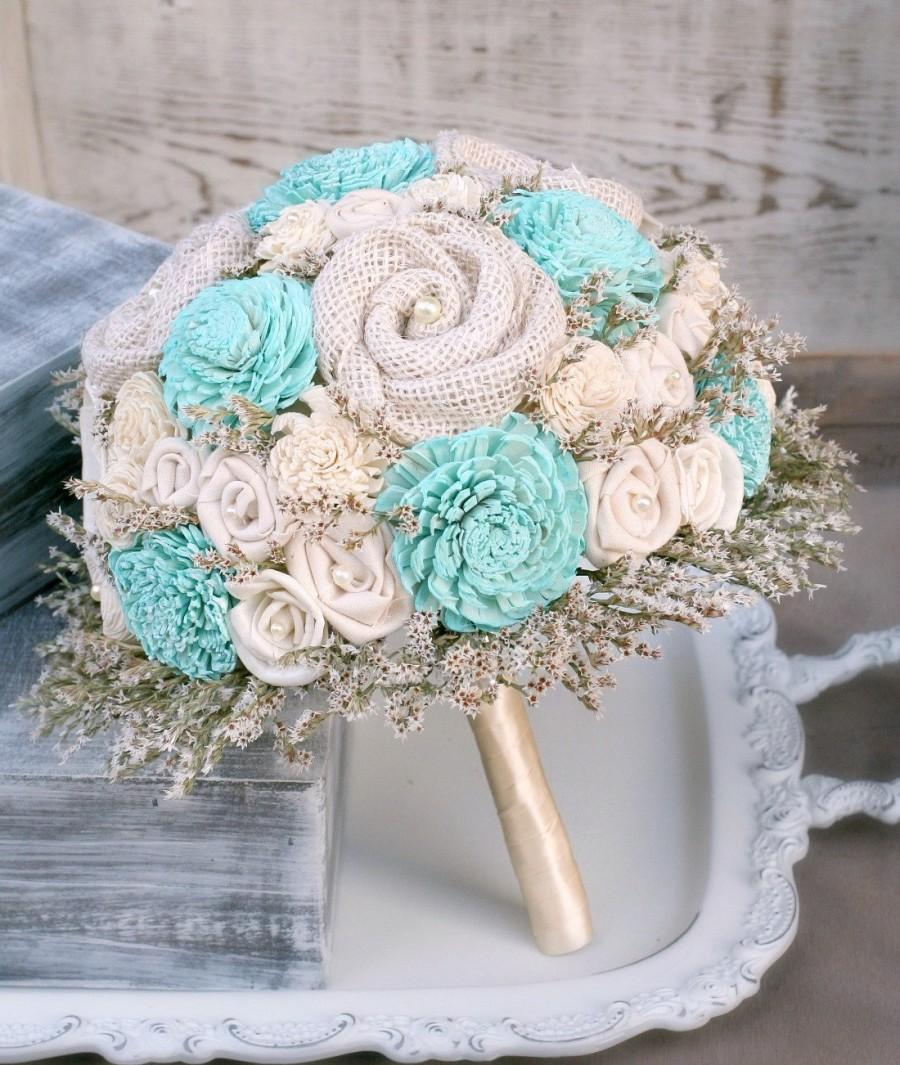 Mariage - Aqua Blue Wedding Bouquet // Aqua, Blue, Aquamarine, Bridal Bouquet, Bride's Bouquet, Sola, Dried Flower, Burlap, Fabric Flower, Bouquet