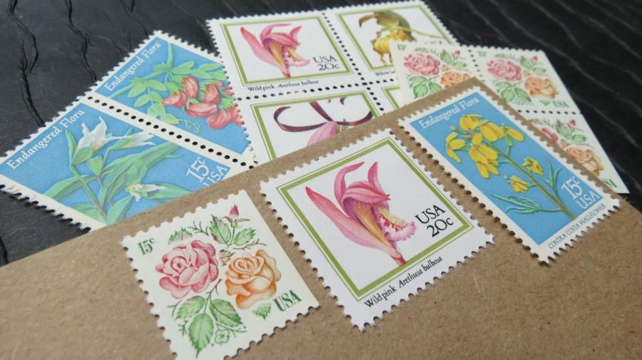 Mariage - Botanical Garden Arrangement .. Vintage UNused Postage Stamps .. to post 5 letters