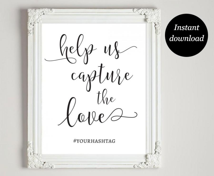 picture relating to Wedding Sign Printable referred to as Wedding day Hashtag Indication Printable, Hashtag Marriage ceremony Indication