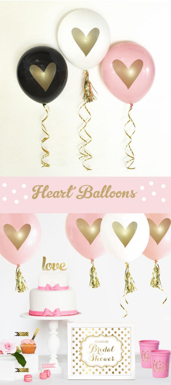 Wedding - Gold Bridal Shower Decorations Gold Wedding Shower Pink and Gold Bridal Balloons White and Gold Wedding (EB3110HRT) - SET of 3 Balloons