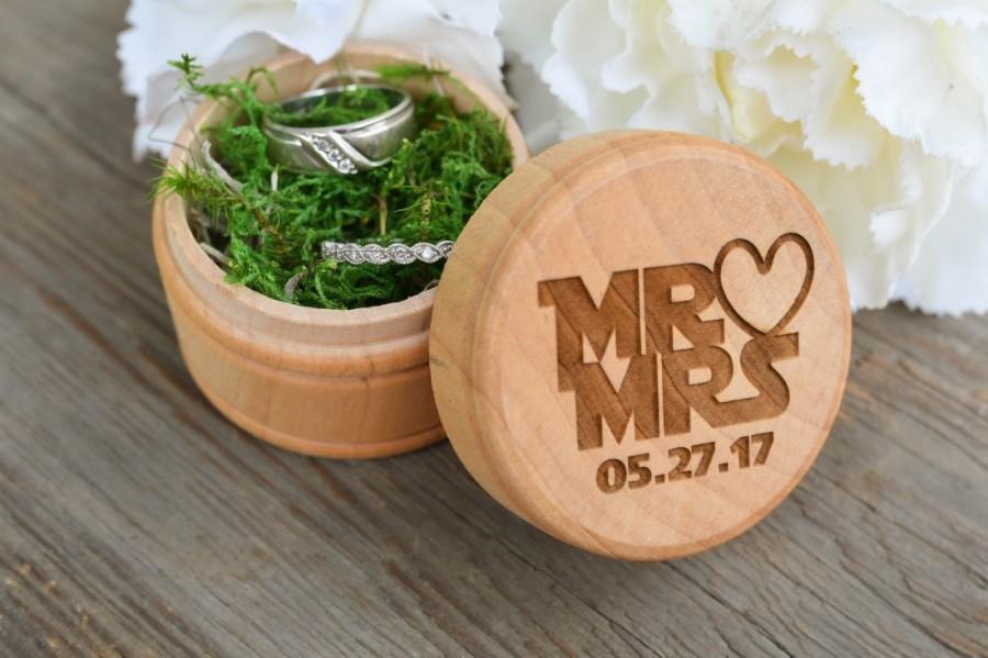 Свадьба - Star Wars Mr & Mrs Engraved Wedding Ring Box - Rustic Wedding Ring Box