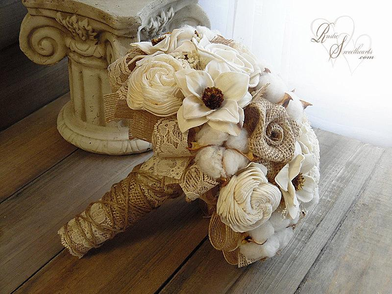 Свадьба - Ships in 4 weeks ~~~~ Rustic Cotton Boll Wedding Bouquet, Sola Flowers, Burlap, Cotton Bolls, Jute & Lace. Available in sm., med. or large.