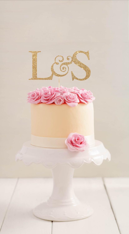 Wedding Cake Topper L Initials Cake Topper L Personalized