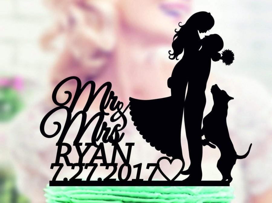 Mariage - Cake Toppers with dog, topper with dog, Wedding Cake Topper Mr & Mrs with dog, Silhouette Wedding Cake Topper Dog , Pet toppers