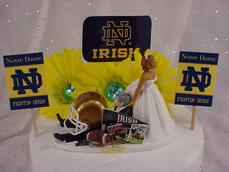 Hochzeit - Notre Dame University Football Couple Ethnic Bride dragging Sports Lover Groom's  Wedding Cake Topper Bridal Fun Weddings Mr Love Mrs -2D
