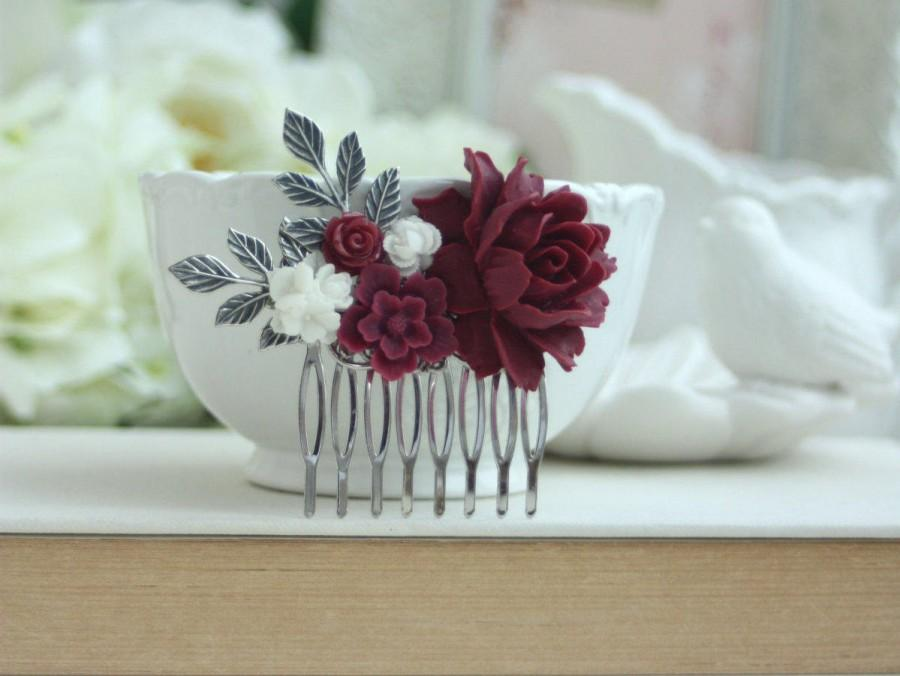Mariage - Burgundy and White Flower Comb, Burgundy Flower Silver Plated Comb, Floral Hair Piece, Floral Hair Comb, Bridesmaid Gift Rustic Fall Wedding