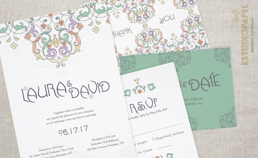 Mariage - Printable Wedding Set - Aamira - Wedding Invitation Kit - Wedding Stationery Download
