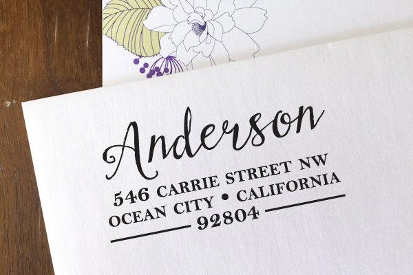 Mariage - CUSTOM ADDRESS STAMP with proof from usa, Eco Friendly Self-Inking stamp, address stamp, custom stamp, custom address stamp Calligraphy 153