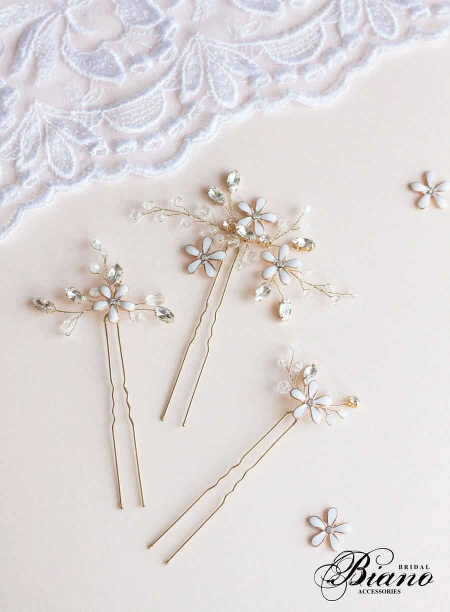 Свадьба - Wedding Hair Pins,  Flower Hair Pins, Bridal Hair Pins, Wedding Headpiece, Blossom Hair Pins, Wedding Hair Accessory, Gold Hair Pins