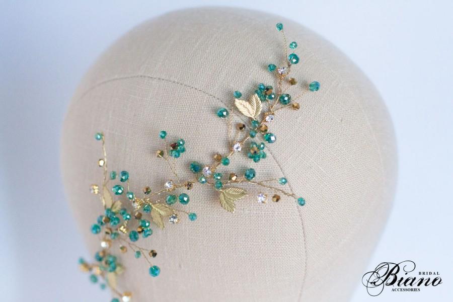 زفاف - Turquoise Wedding Hair Comb, Wedding Hair Accessory, Turquoise Headpiece, Hair Vine, Crystal Hair Comb, Bridesmaids, Turquoise Blue Wedding
