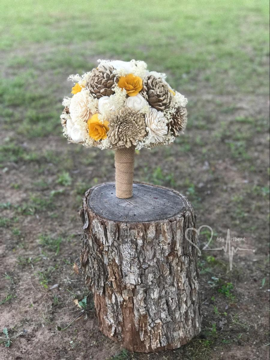 Wedding - Rustic Yellow Brown & Ivory Sola Bouquet, Sola Flower Bouquet, Yellow Bouquet, Bridal Bouquet, Wedding Bouquet, Burlap Bouquet, Fall Bouquet