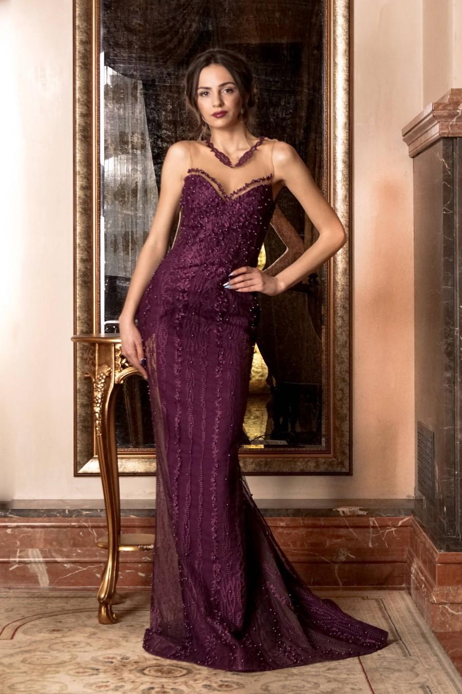 Hochzeit - Sleeveless beaded prom dress, purple sheath cocktail dress backless tulle long train elegant dress couture evening romantic formal dress