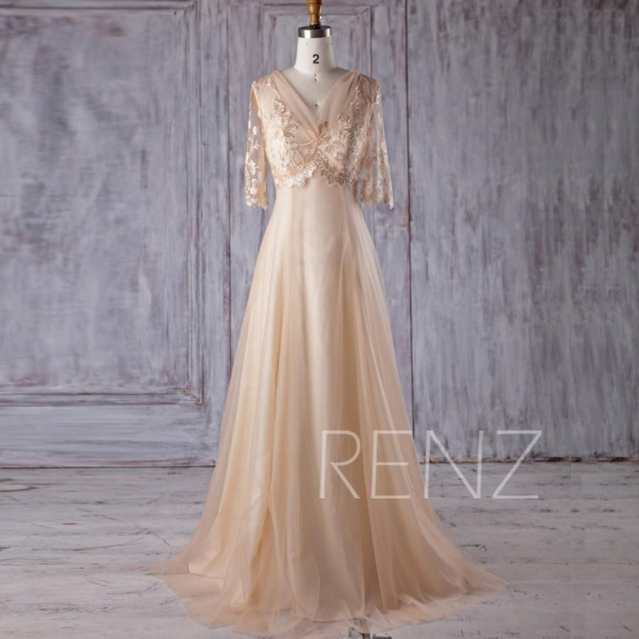 2017 Beige Tulle Bridesmaid Dress V Neck Lace Wedding Long Sleeves A Line Prom Luxury Ball Gown Floor Length Hs381