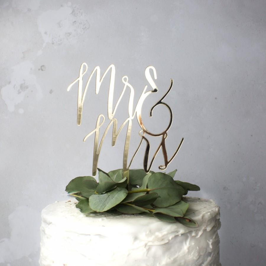 Wedding - wedding cake topper - mr and mrs cake topper - cake decoration - wedding calligraphy - cake topper for wedding - gold wedding decor