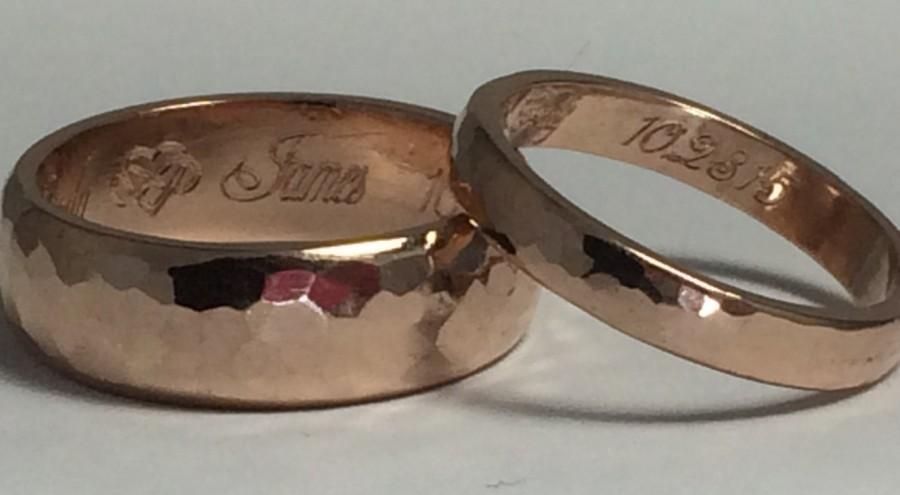 Wedding - 14kt rose gold wedding band set, wedding rings, pink gold wedding bands, his and hers wedding rings,