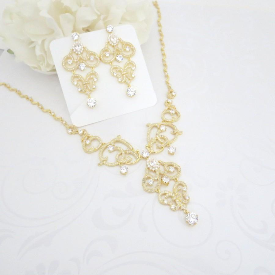 Mariage - Bridal necklace, Crystal necklace, Wedding jewelry, Statement necklace, Chandelier earrings, Gold earrings, Gold necklace, Jewelry set