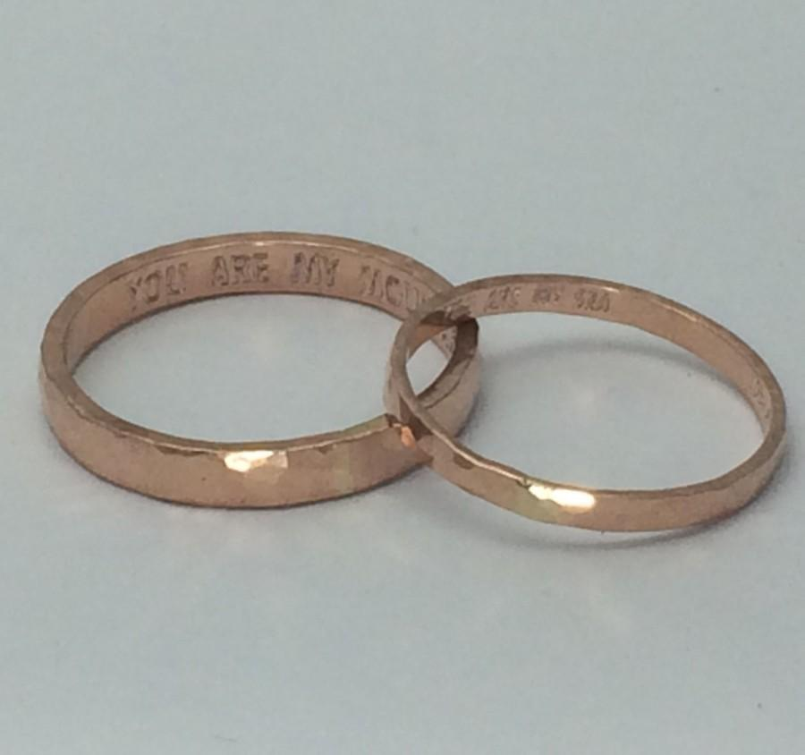 Rose Gold Wedding Ring Set His And Hers Engagement Rings Promise Engraved Personalized