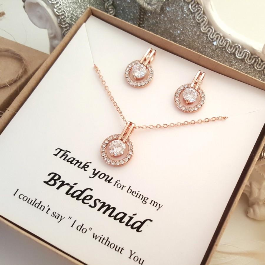 Wedding - Rose Gold Bridesmaid Earrings and Necklace set, Message Gift Box #2