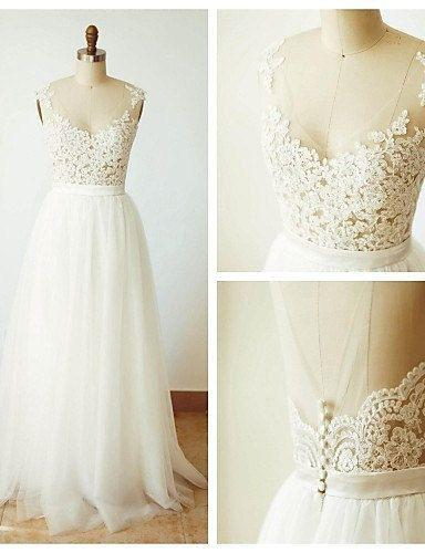 Свадьба - A-line Ivory Tulle With Lace Appliqued Beach Wedding Dresses,apd2221